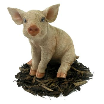 Sitting Piglet - Pig Resin Garden Ornament - Spin Image