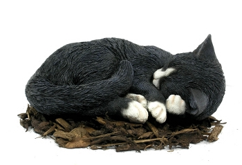 Sleeping Black and White Cat - Resin Garden Ornament - Spin Image