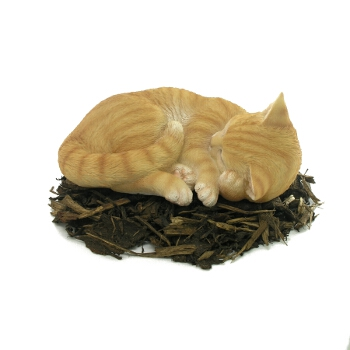 Sleeping Ginger Cat - Resin Garden Ornament - Spin Image