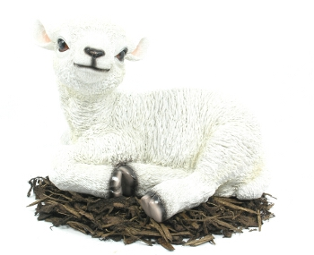 Vivid Laying White Lamb Lifelike Resin Garden Ornament - Medium - Spin Image
